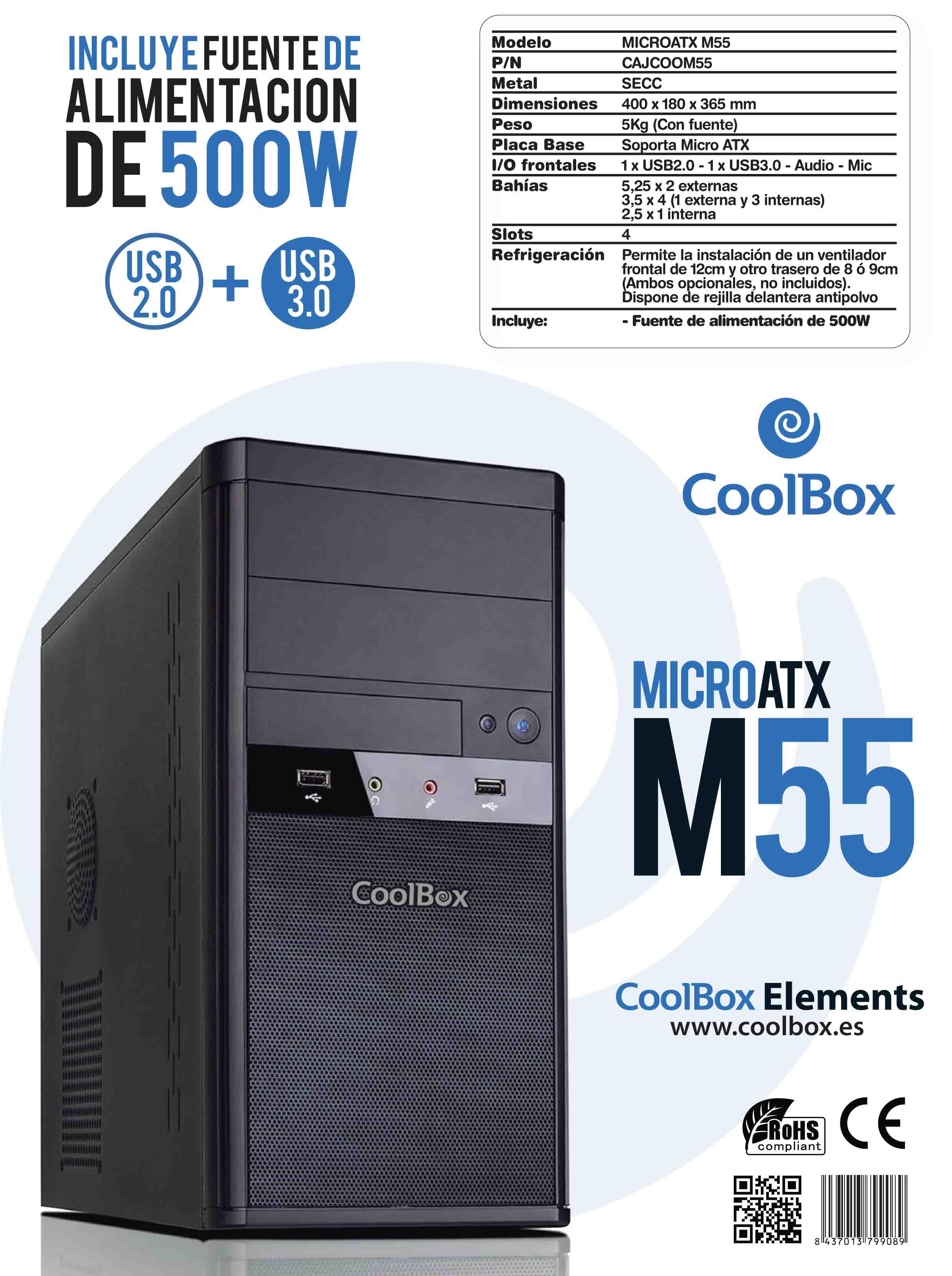 CAJA MICRO ATX COOLBOX M55 USB3.0 500W