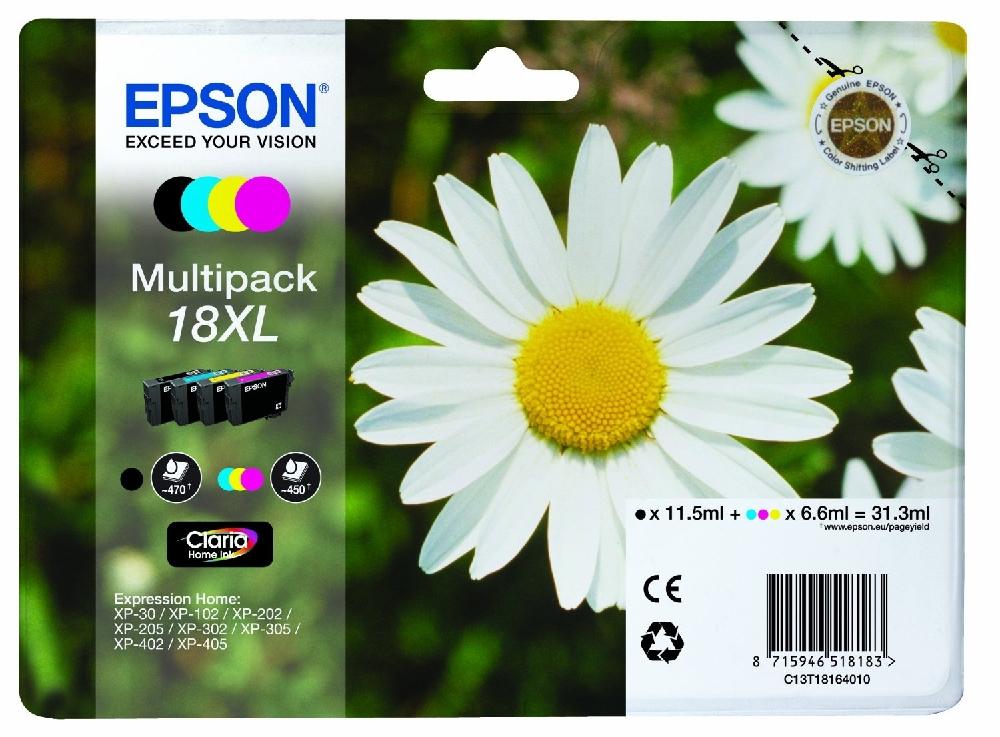 T1816/18XL Pack cartuchos tinta Cian Magenta Amarillo y Negro Epson