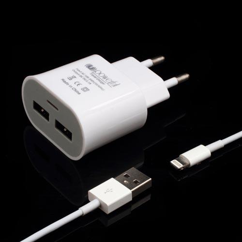Cargador USB 2 puertos 5V 1A + cable USB a lightning para iPhone 5 y 6 y iPad BLANCO