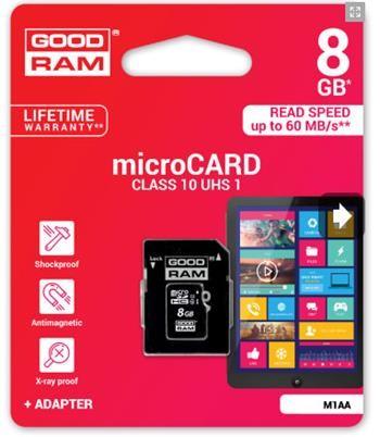 8 GB Memoria micro SD GoodRam con adaptador a SD
