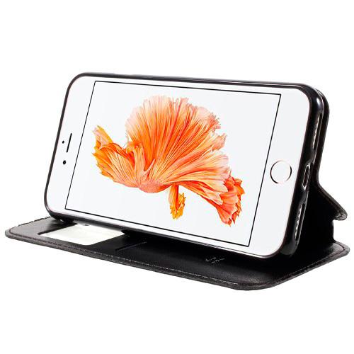 Funda tipo libro con ventana Iphone 7 piel negra