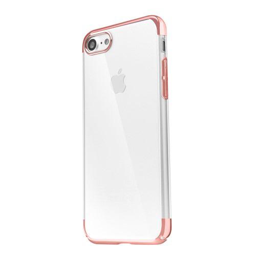 Funda trasera rigida Iphone 7 transparente con borde oro rosa